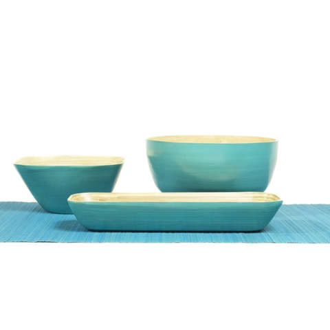 Set of square, round and rectangular aqua bamboo serving bowls.