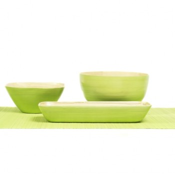 Apple green bamboo serving bowls in different shapes and sizes.