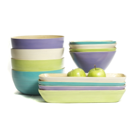 Eco friendly bamboo serving bowls in lavender, apple green and aqua in a range of shapes.
