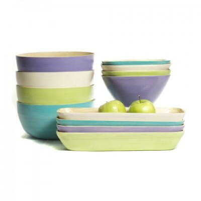 Eco friendly bamboo bowls in lavender purple, white, aqua and apple green.