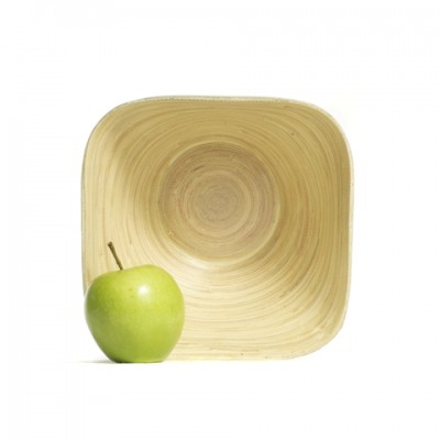 Inside view of a large square bamboo serving bowl. Bowl size: 21 x 21 x 10 cm.
