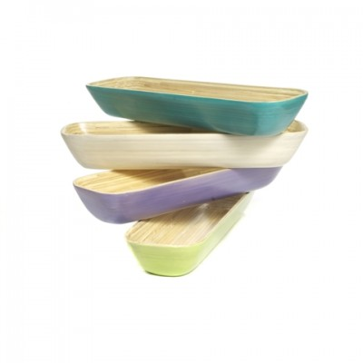 Eco friendly long rectangular bamboo bowls in aqua, white, lavender purple and apple green.