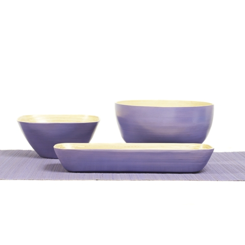 Set of square, round and rectangular lavender purple bamboo serving bowls.