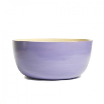 Lavender purple eco friendly round bamboo serving bowl.