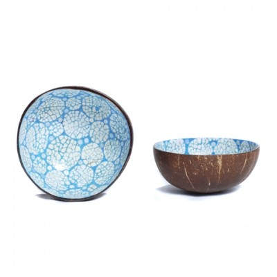 Side and inside view of blue coconut bowl inlaid with eggshell.