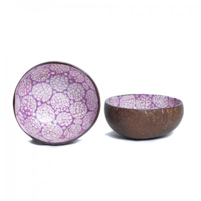 Side and inside view of purple coconut bowl inlaid with eggshell.