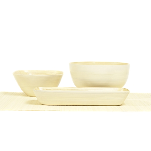 Set of square, round and rectangular white bamboo serving bowls.