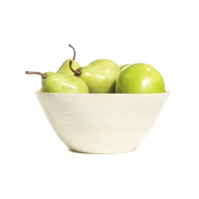 Large round white eco friendly bamboo bowl can be used for fruit.
