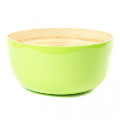 Eco friendly large round lime green bamboo serving bowl. Bowl size:25 x 25 x 12 cm
