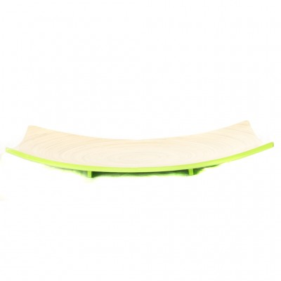 Side view of lime green bamboo platter.