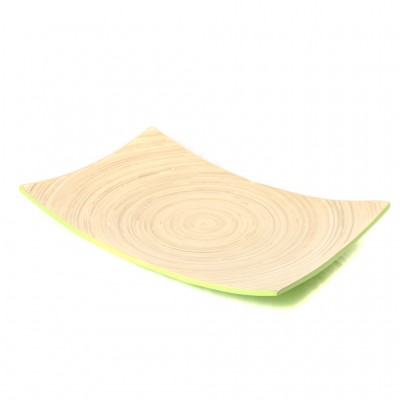 Eco friendly lime green bamboo platter. Platter size: 45 x 30 x 3 cm