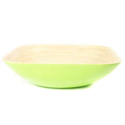Eco friendly lime green square bamboo bowl. Bowl size: 35 x 35 x 10 cm