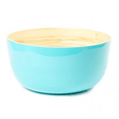 Eco friendly large round aqua bamboo bowl.