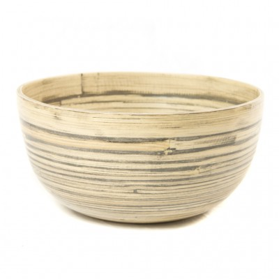 Large round bamboo serving bowl made from natural black bamboo. Bowl size: 25 x 25 x 12 cm