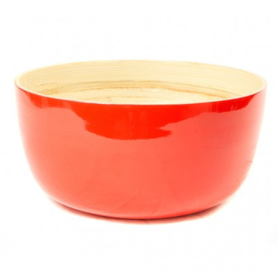 Large round eco friendly red bamboo serving bowl.
