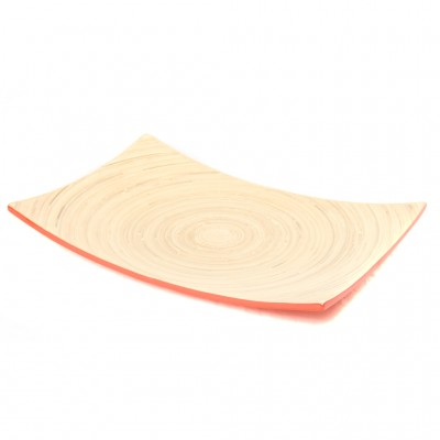 Full view of red bamboo serving platter.
