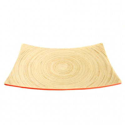 Eco friendly red bamboo serving platter.