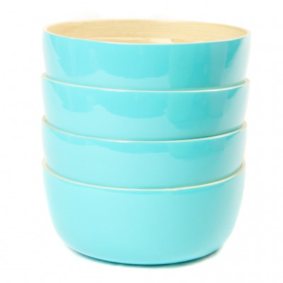 Side view of set of 4 small eco friendly aqua bamboo bowls.