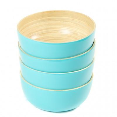 Set of 4 eco friendly small aqua bamboo bowls. Bowl size: 17 x 17 x 7 cm