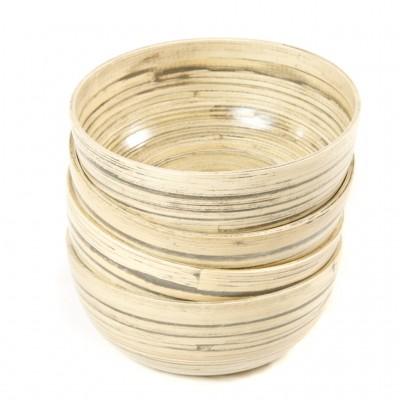 A set of 4 small bamboo bowls made from natural black bamboo.