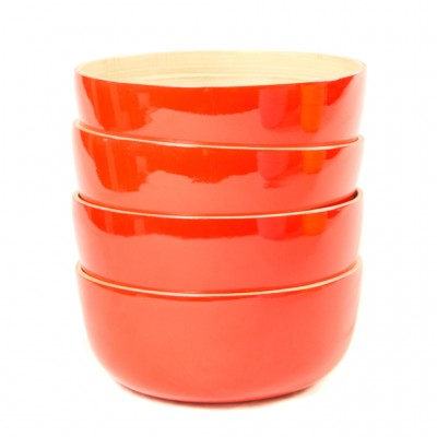 Set of 4 small round eco friendly bamboo bowls.
