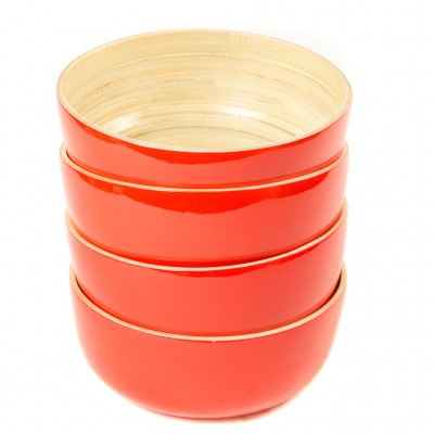 Four red eco friendly bamboo bowls.