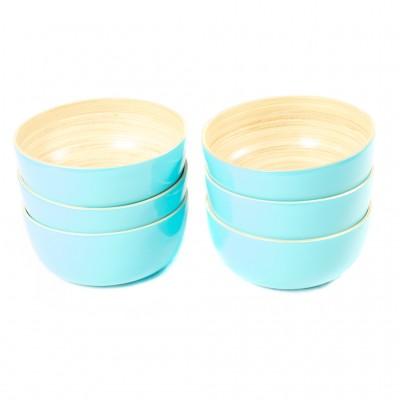 Set of 6 small aqua bamboo bowls.
