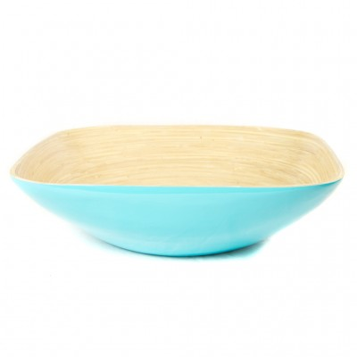 Eco friendly aqua square bamboo bowl. Bowl size: 35 x 35 x 10 cm