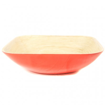 Eco friendly red square bamboo serving bowl.