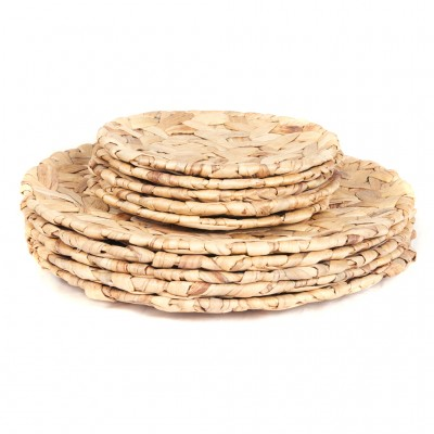 Natural woven water hyacinth platters
