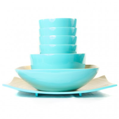 Full set of eco friendly aqua bamboo bowls in different sizes and a platter.
