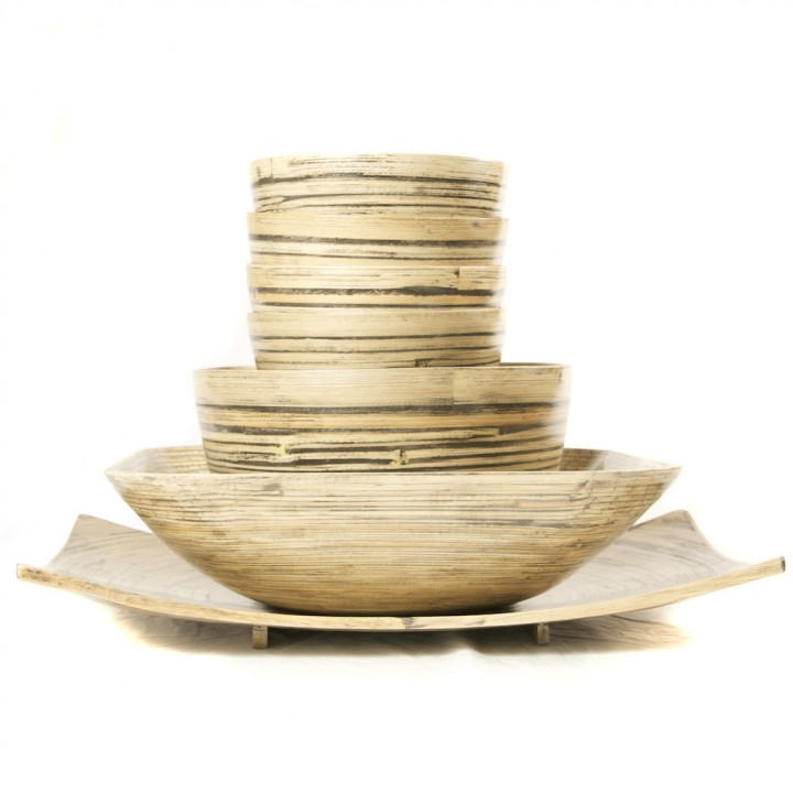 Full set of natural black bamboo serving bowls in different sizes and a platter.