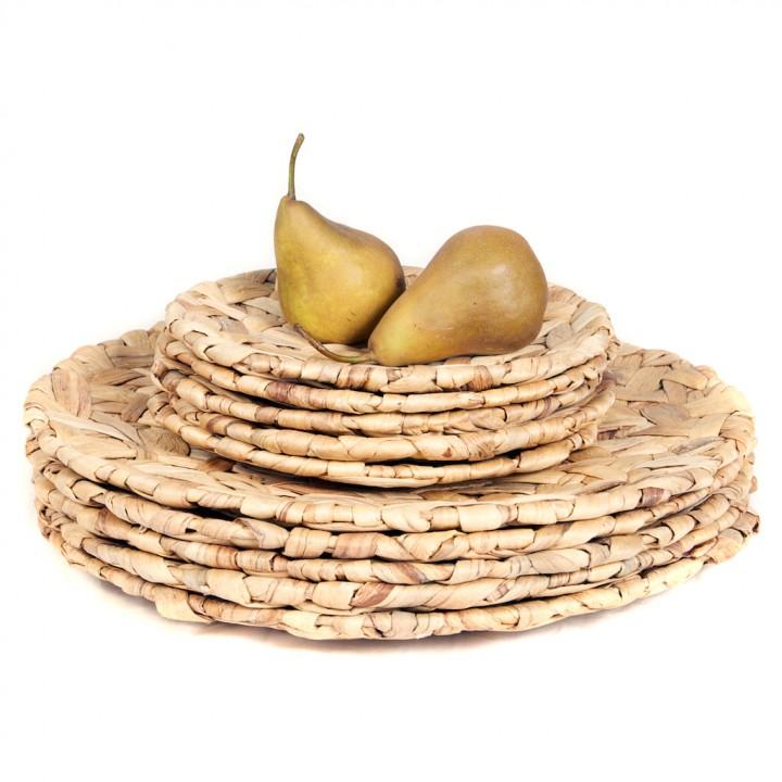 Natural woven water hyacinth platter