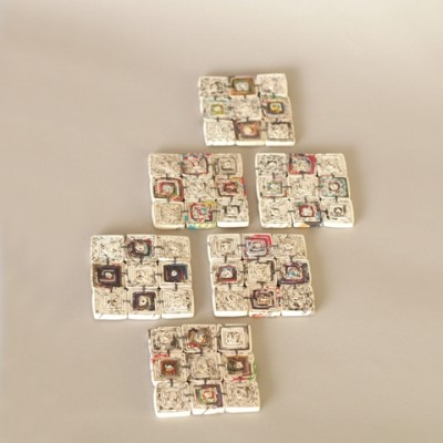 Set of 6 recycled paper coasters