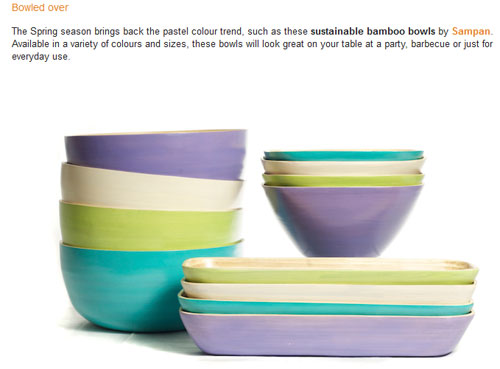 Bamboo bowls featured on the Light Home website.