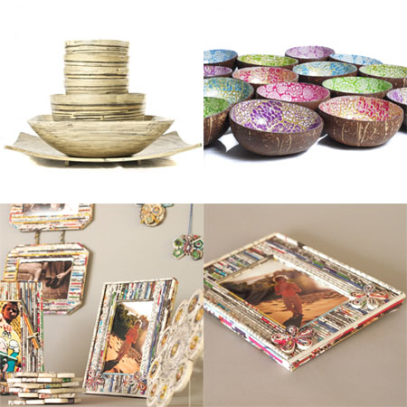 bamboo bowls, coconut bowls, recycled paper gifts, photo frame
