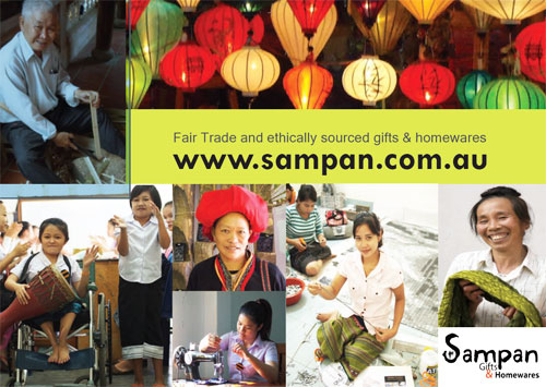 Silk lanterns and ethically sourced gifts.