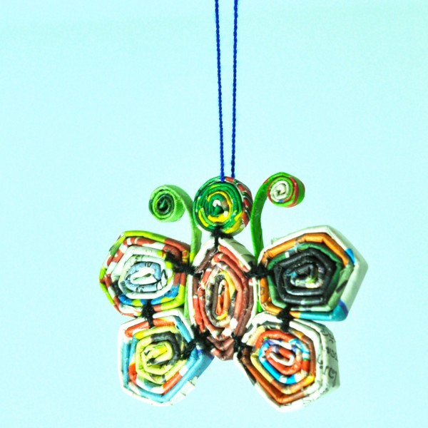 Fair trade recycled paper hanging ornaments for Recycled home decorations